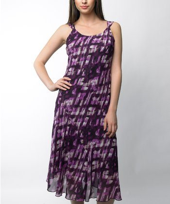 Plum Abstract Sleeveless Dress