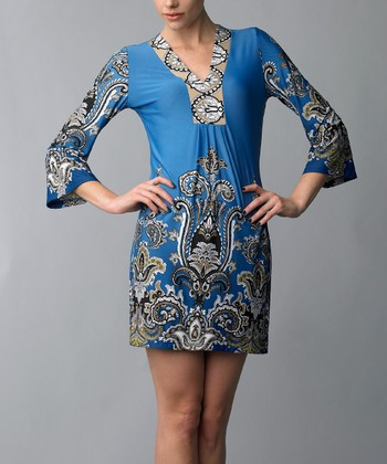 Blue & Tan Paisley Three-Quarter Sleeve Dress
