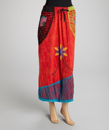Dark Brown Patchwork Embroidered Maxi Skirt