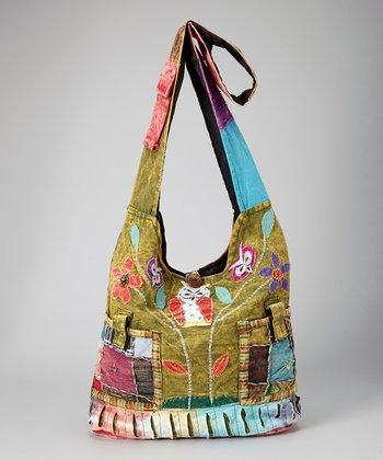 Lime Green Patchwork Crossbody Bag