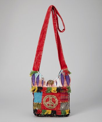 Red & Lime Peace Crossbody Bag