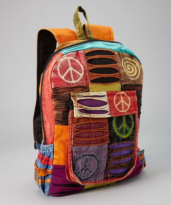 Yellow & Orange Patchwork Peace Backpack