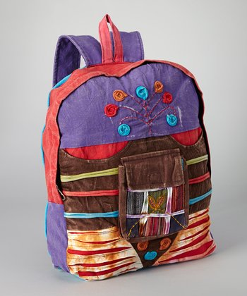 Purple & Brown Corduroy Panel Backpack