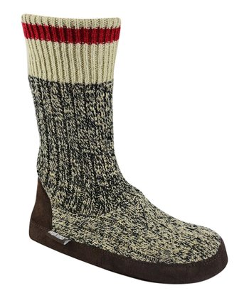 Gray Salt & Pepper Cabin Wool-Blend Slipper Boot
