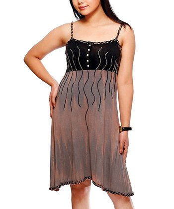 Black & Charcoal Swirl Tank Dress