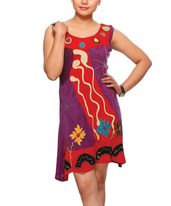 Red & Purple Asymmetrical Dress