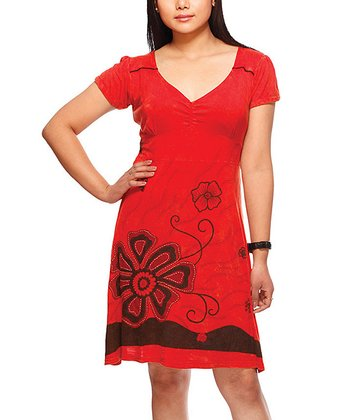 Red Lily Embroidered V-Neck Dress
