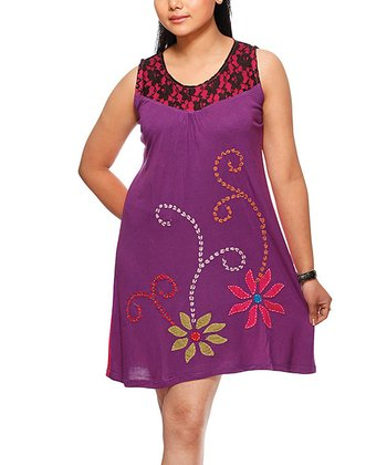 Purple & Pink Floral Appliqué Dress