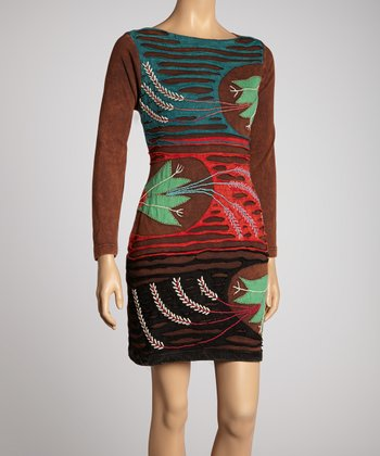 Brown & Green Blossom Dress - Women