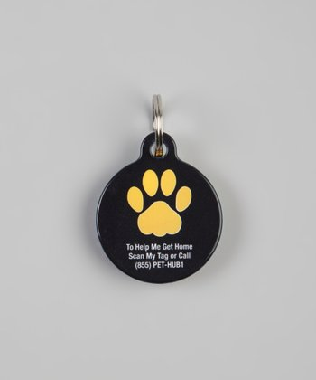 Black & Gold Paw QR Code Pet Tag