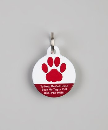 Red Paw QR Code Pet Tag