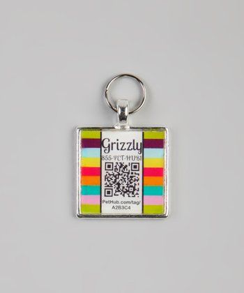 PetHub Carnival Stripe Personalized Square Pet Tag