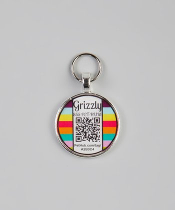 PetHub Carnival Stripe Personalized Round Pet Tag