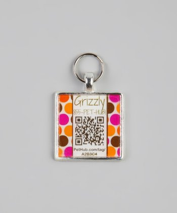 PetHub Pink & Orange Polka Dot Personalized Square Pet Tag