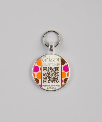 Pink & Orange Polka Dot Personalized Round Pet Tag