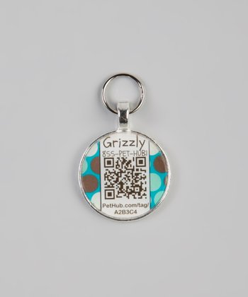 Blue Polka Dot Personalized Round Pet Tag