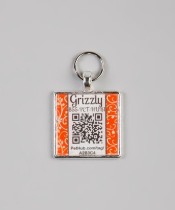 PetHub Orange Garden Party Personalized Square Pet Tag