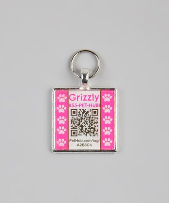 Pink Paw Personalized Square Pet Tag