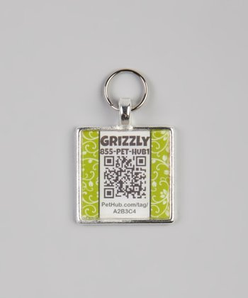 PetHub Green Garden Party Personalized Square Pet Tag