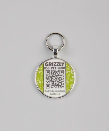 PetHub Green Garden Party Personalized Round Pet Tag