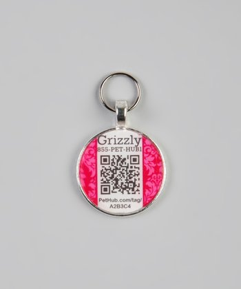 PetHub Pink Damask Personalized Round Pet Tag