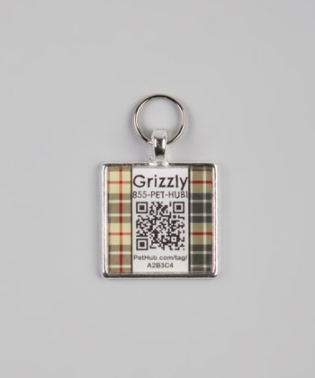 Black & Red Plaid Personalized Square Pet Tag