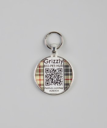 Black & Red Plaid Personalized Round Pet Tag