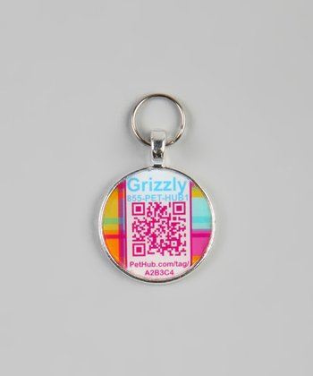 Pink Plaid Personalized Round Pet Tag