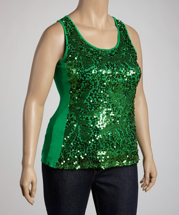 Green Embellished Tank - Plus