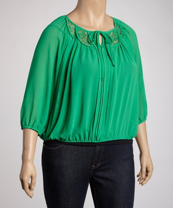 Green Peasant Top - Plus
