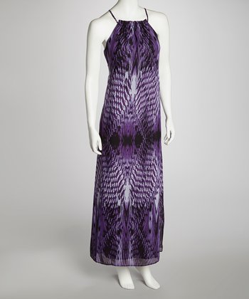 Purple Abstract Tribal Maxi Dress - Women