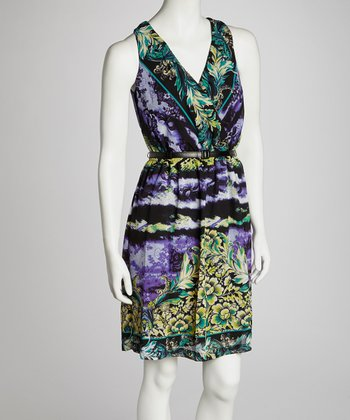 Purple Abstract Surplice Dress - Women