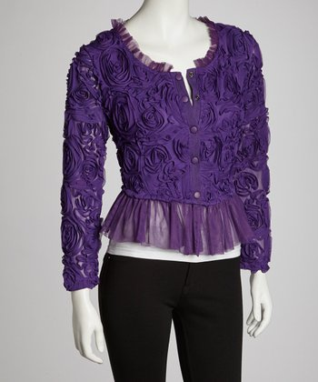 Purple Rosette Linen-Blend Cardigan