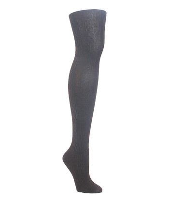 Dark Heather Gray Textured Cable-Knit Tights - Women