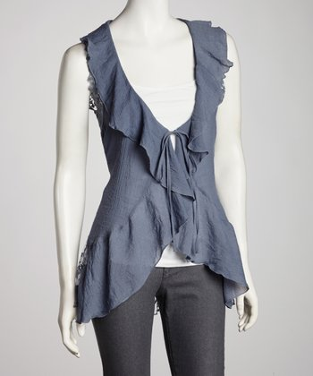 Charcoal Sheer Accent Open Cardigan