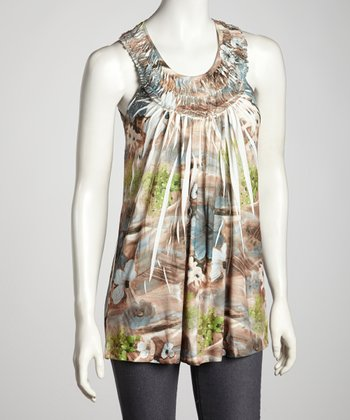 Taupe & Green Sublimation Yoke Top