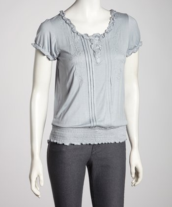 Gray Pleated Ruffle Short-Sleeve Top