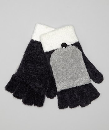 Neutral Color Block Convertible Gloves