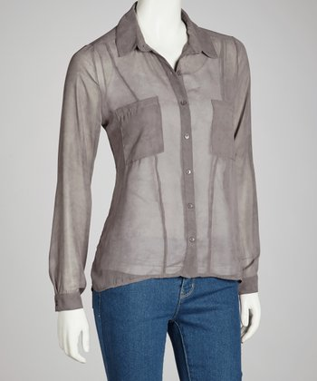 Gray Sheer Button-Up - Women
