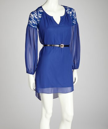 Royal Blue Lace Belted Dress