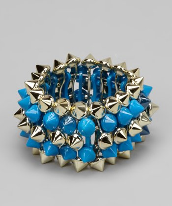 Blue & Gold Spike Stretch Bracelet