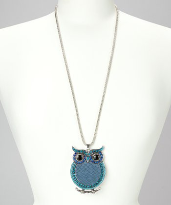 Blue & Silver Owl Pendant Necklace