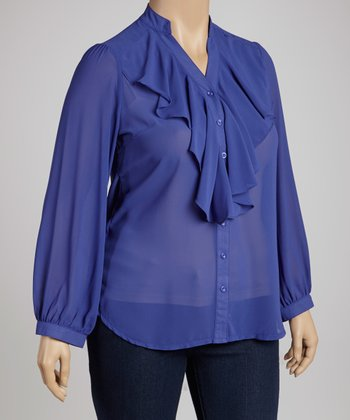 Royal Blue Ruffle Top - Plus