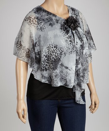 Gray Leopard Layered Cape-Sleeve Top - Plus