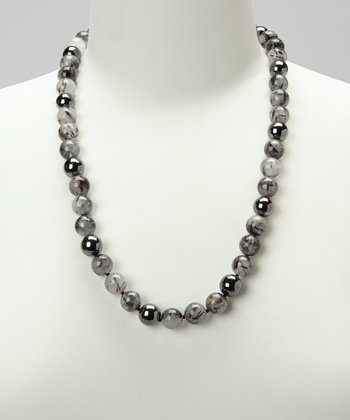 Sterling Silver & Black Rutile Quartz Necklace