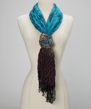 Blue & Brown Fade Crinkle Scarf
