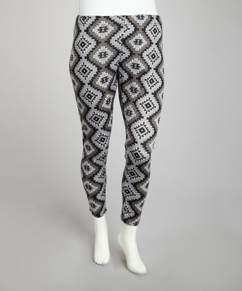 Black & Gray Geometric Leggings - Plus