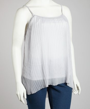 Silver Gray Ribbed Tank - Plus