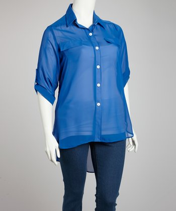 Royal Blue Button-Up - Plus