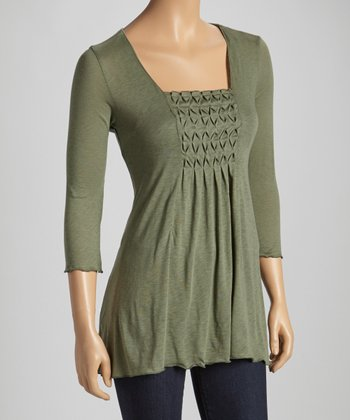 Eucalyptus Shirred Three-Quarter Sleeve Top
